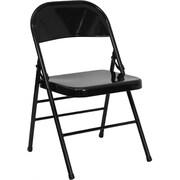 Flash Furniture HERCULES Series Triple Braced & Quad Hinged Metal Folding Chair, Black, 20/Pack