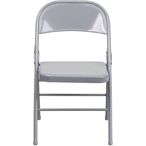 Flash Furniture HERCULES Series Triple Braced & Quad Hinged Metal Folding Chair, Gray, 52/Pack