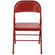Flash Furniture HERCULES Series Triple Braced & Quad Hinged Metal Folding Chair, Red, 4/Pack