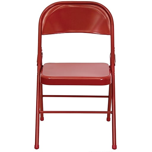 Flash Furniture HERCULES Series Triple Braced & Quad Hinged Metal Folding Chair, Red, 32/Pack