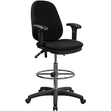 Flash Furniture Ergonomic Multi-Functional Triple Paddle Drafting Stool with Adjustable Foot Ring and Arms, Black