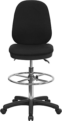 Flash Furniture Ergonomic Multi-Functional Triple Paddle Drafting Stool with Adjustable Foot Ring, Black 201217