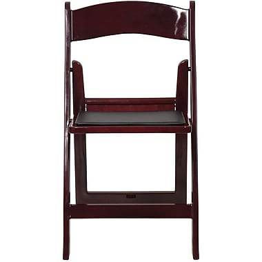 Flash Furniture 4LEL1MAH Vinyl Folding Chair, Black/Red/Mahogany