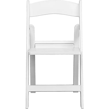 Flash Furniture Hercules Series 1000 lb. Capacity Resin Folding Chair with Slatted Seat, White, 24/Pack
