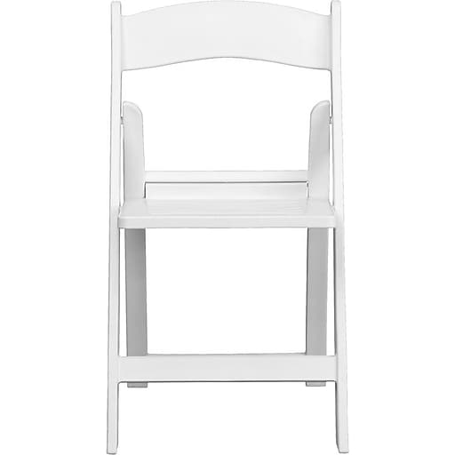 Flash Furniture HERCULES™ Plastic Armless Folding Chair With Slatted Seat, White, 20/Pack