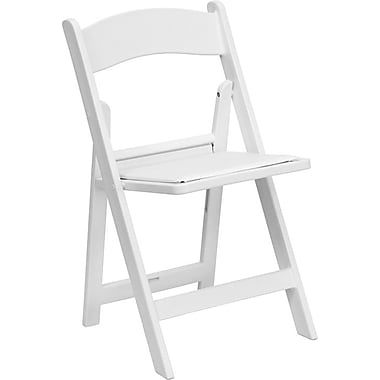 Flash Furniture HERCULES Series 1000 lb. Capacity Resin Folding Chair with White Vinyl Seat, White, 20/Pack