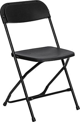 Flash Furniture HERCULES Series 800 lb. Capacity Plastic Folding Chair, Black, 52/Pack 201249
