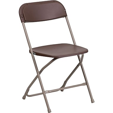 Flash Furniture Hercules Series 800 lb. Capacity Premium Plastic Folding Chair, Brown, 10/Pack
