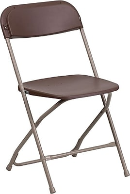 Flash Furniture HERCULES Series 800 lb. Capacity Premium Plastic Folding Chair, Brown, 40/Pack