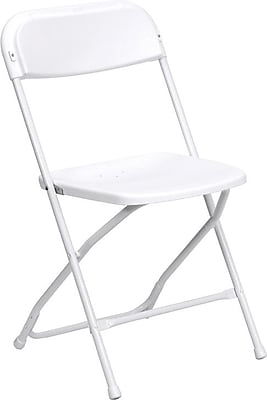 Flash Furniture HERCULES Series 800 lb. Capacity Premium Plastic Folding Chair, White, 4/Pack