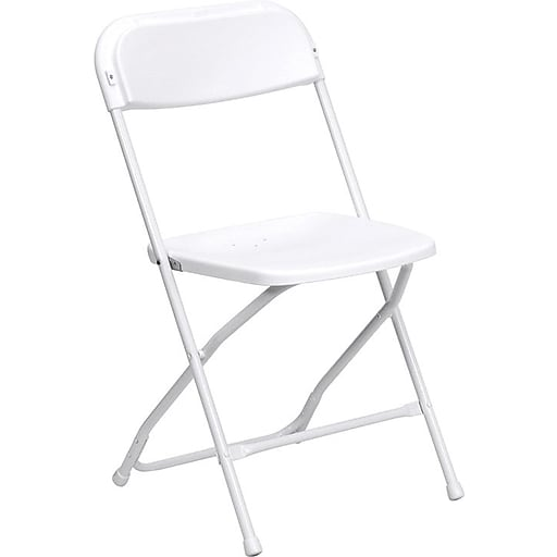 Flash Furniture HERCULES Series 800 lb. Capacity Premium Plastic Folding Chair, White, 60/Pack