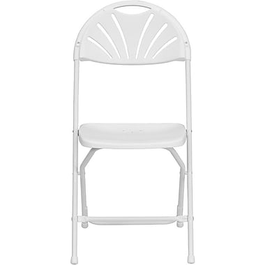 Flash Furniture Hercules Series 800 lb. Capacity Plastic Fan Back Folding Chair, White, 32/Pack