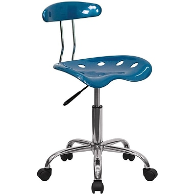 Flash Furniture LF-214-BRIGHTBLUE-GG Polymer Armless Computer Task Chair, Bright Blue