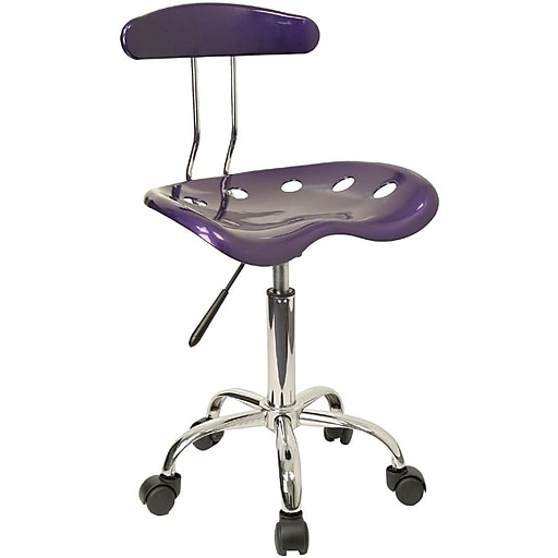 Flash Furniture Chrome Low Back Computer Task Chair With Tractor Seat, Vibrant Violet