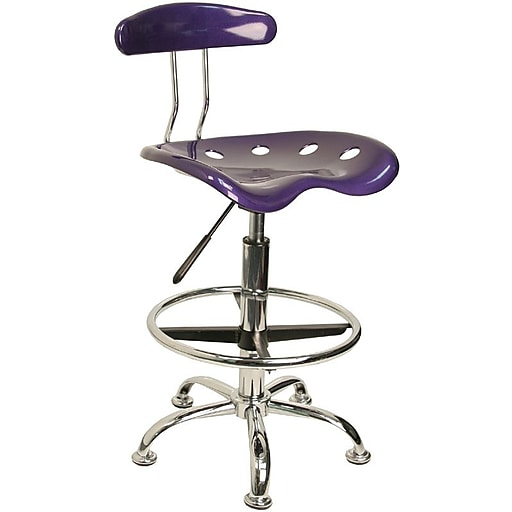 Flash Furniture Low Back Polymer Drafting Stool With Tractor Seat, Vibrant Violet
