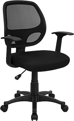 Flash Furniture Fabric Computer and Desk Office Chair, Fixed Arms, Black (LFW118ABK)