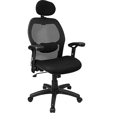 Flash Furniture LFW42BLBKHR Mesh High-Back Exec Chair with Adjustable Arms, Black
