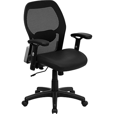Flash Furniture LFW42BLBK Leather Mid-Back Task Chair with Adjustable Arms, Black