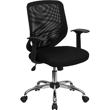 Flash Furniture LFW95MESHBK Mesh Mid-Back Task Chair with Fixed Arms, Black