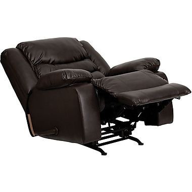 Flash Furniture Plush Rolled Back Leather Rocker Recliner, Brown