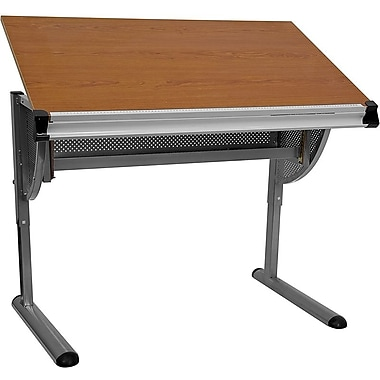 Flash Furniture Adjustable Drawing and Drafting Table with Pewter Frame, Cherry