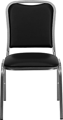 Flash Furniture HERCULES Series Stacking Banquet Chair with Black Vinyl and Silver Vein Frame Finish, 20/Pack 201332