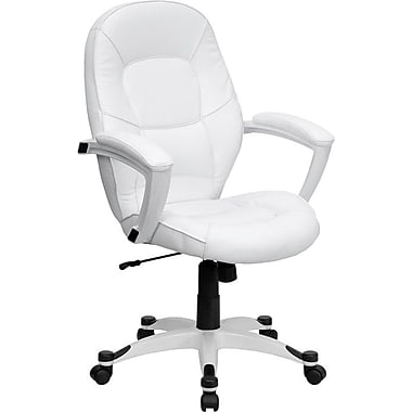 Flash Furniture Mid-Back Executive Chair, Fixed Arms, White