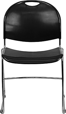 Flash Furniture HERCULES Series 880 lb. Capacity High Density, Ultra Compact Stack Chair with Chrome Frame, Black, 15/Pack