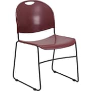 Flash Furniture HERCULES Series 880 lb. Capacity High Density, Ultra Compact Stack Chair with Black Frame, Burgundy