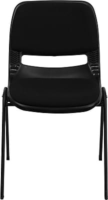 Flash Furniture HERCULES Series 880 lb. Capacity Ergonomic Shell Stack Chair with Padded Seat and Back, Black, 60/Pack 201419