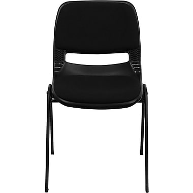 Flash Furniture Hercules Series 880 lb. Capacity Ergonomic Shell Stack Chair with Padded Seat and Back, Black, 30/Pack