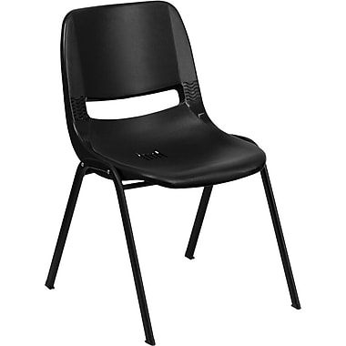 Flash Furniture Hercules Series 880 lb. Capacity Ergonomic Shell Stack Chair, Black