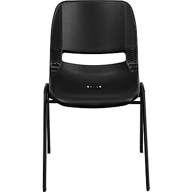 Flash Furniture Hercules Series 880 lb. Capacity Ergonomic Shell Stack Chair, Black, 60/Pack