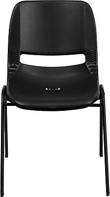 Flash Furniture HERCULES Series 880 lb. Capacity Ergonomic Shell Stack Chair, Black, 60/Pack