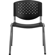 Flash Furniture Hercules Series Polypropylene Stack Chair with Titanium Frame Finish, Black