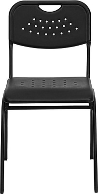 Flash Furniture HERCULES Series 880 lb. Capacity Plastic Stack Chair with Black Powder Coated Frame, Black, 12/Pack