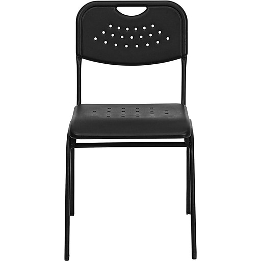 Flash Furniture HERCULES™ Plastic Powder Coated Frame Stack Chair, Black, 24/Pack