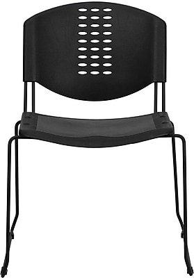 Flash Furniture HERCULES Series 400 lb. Capacity Plastic Stack Chair with Black Powder Coated Frame Finish, Black, 15/Pack