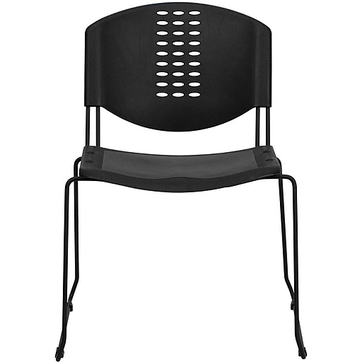 Flash Furniture HERCULES Series 400 lb. Capacity Plastic Stack Chair with Black Powder Coated Frame Finish, Black, 30/Pack