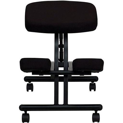 Flash Furniture Fabric Ergonomic Kneeling Chair With Black Frame, Black