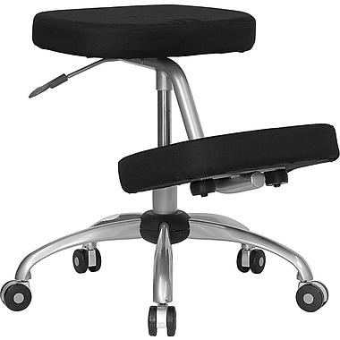 Flash Furniture – Chaise ergonomique en tissu avec repose-genoux, sans accoudoirs, noir