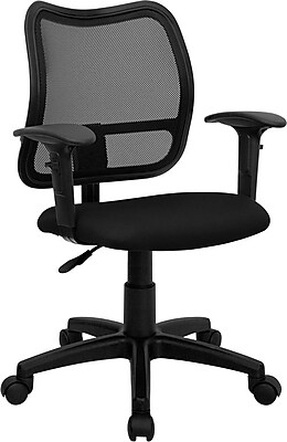 Flash Furniture Mid-Back Fabric Task Chair, Adjustable Arms, Black (WLA277BKA)