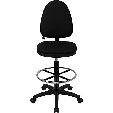 Flash Furniture Mid-Back Fabric Multi-Functional Drafting Stool with Adjustable Lumbar Support, Black