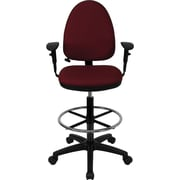 Flash Furniture Mid-Back Fabric Multi-Functional Drafting Stool with Arms and Adjustable Lumbar Support, Burgundy