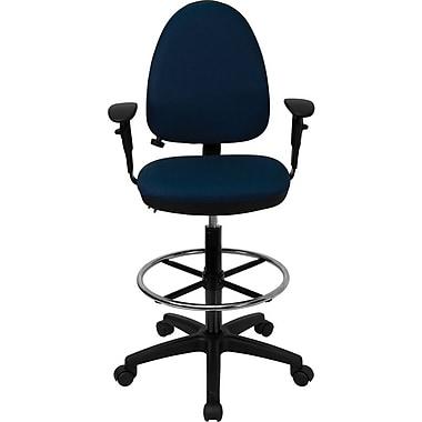 Flash Furniture – Tabouret multifonctionnel à dossier mi-dos, en tissu, accoudoirs et soutien lombaire réglables, bleu marine