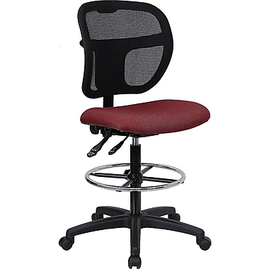 Flash Furniture Mid-Back Mesh Drafting Stool with Fabric Seat, Burgundy