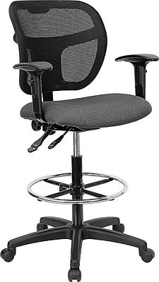 Flash Furniture Mid-Back Mesh Drafting Stool with Fabric Seat and Arms, Gray