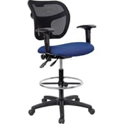Flash Furniture Mid-Back Multi-Functional Mesh and Fabric Drafting Stool, Adjustable Arms, Navy Blue