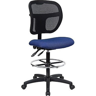 Flash Furniture Mid-Back Multi-Functional Mesh Drafting Stool with Fabric Seat, Navy Blue