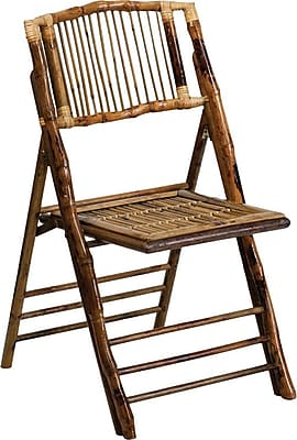 Flash Furniture American Champion Folding Chair, Bamboo, 4/Pack